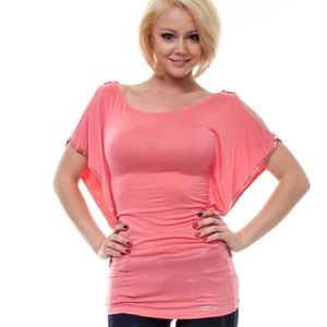 Coral Silver Trim Bat Wing Summer Blouse Top